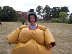 Picture of playscheme memeber wearing Sumo suit